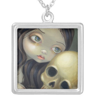Faces of Faery #126 gothic skull fairy Silver Plated Necklace