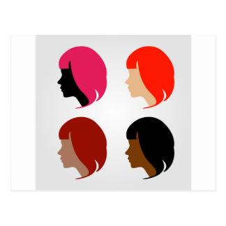 Faces of four multi-ethnic women postcard