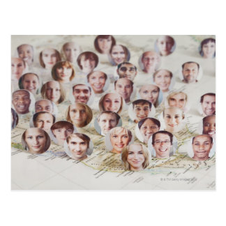 Faces over a map of America Postcard