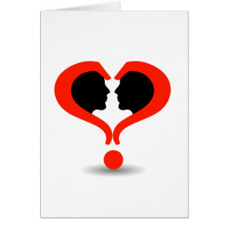 Faces with question marks shaped like heart card