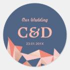 Faceted Geode Modern Geometric Wedding Monogram Classic Round Sticker
