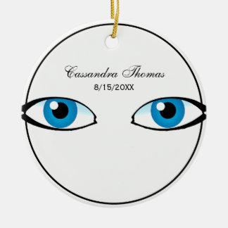 Facial parts - Bright Blue Eyes Ceramic Ornament