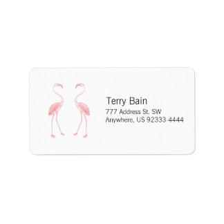 Facing Flamingos Label