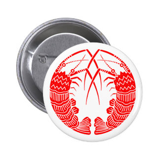 Facing spiny lobsters 2 inch round button