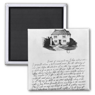 Facsimile of letter illustrating  house in square magnet
