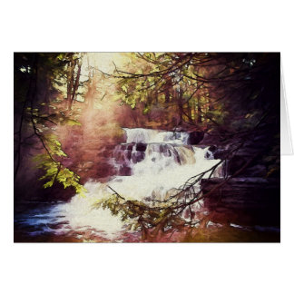 Factory Falls in the Poconos Painting Card