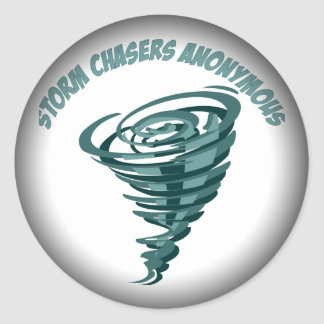 Fade to Black Round Stickers - Storm Chasers