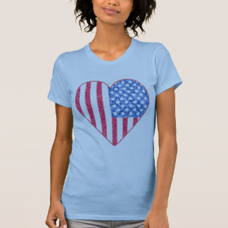 Faded American Flag Heart Tshirt Design