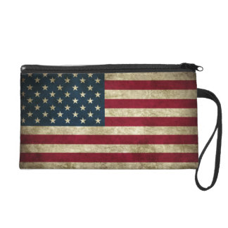 faded and grungy american flag wristlet clutch