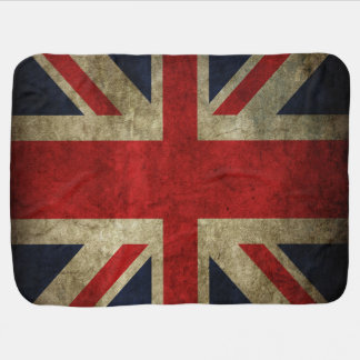 Faded Antique Union Jack Flag Baby Crib Stroller Receiving Blanket