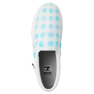 Faded aqua gingham Slip-On sneakers