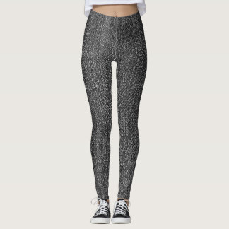 Faded Black Denim Look Leggings