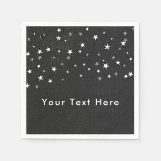 Faded Black Denim Starry Grunge Party Custom Napkin