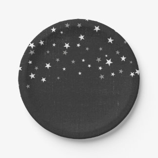 Faded Black Denim Starry Grunge Party Favor Custom Paper Plate