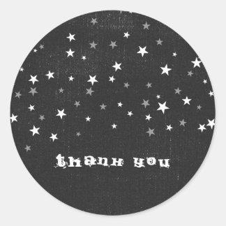 Faded Black Denim Starry Grunge Party Favor Custom Round Sticker