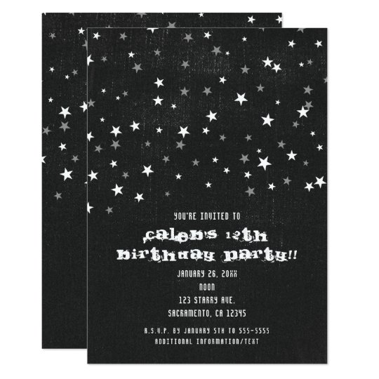 Faded Black Denim Starry Grunge Party Invitations