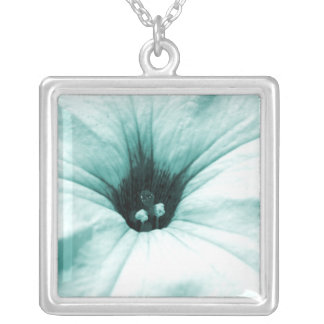 Faded blue flower macro picture silver plated necklace