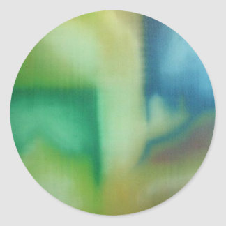 Faded Blue & Green Abstract Oil Painting Classic Round Sticker