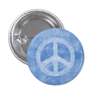 Faded Blue Peace Sign 1 Inch Round Button