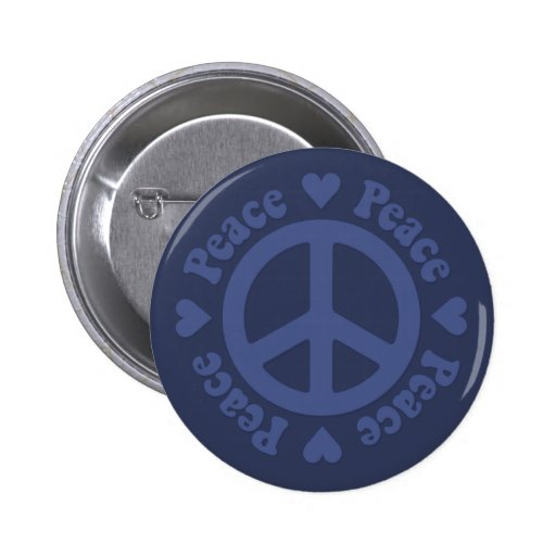 Faded Blue Peace Sign Button