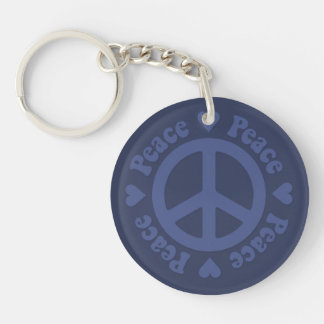 Faded Blue Peace Sign Single-Sided Round Acrylic Keychain