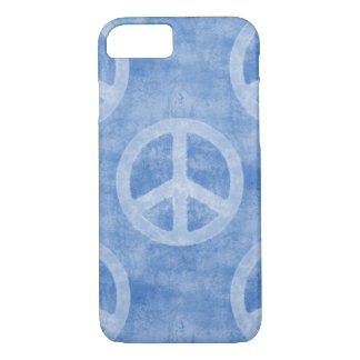 Faded Blue Peace Sign Pattern iPhone 7 Case