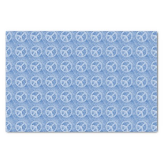 Faded Blue Peace Sign Pattern Tissue Paper
