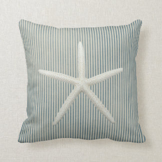 Faded Blue Pin Stripes Starfish Throw Pillow