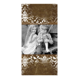 Faded Chic Brown White Vintage Damask Pattern Personalized Photo Card