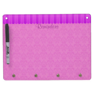 Faded Damask 4 Dry Erase Board With Keychain Holder