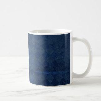 faded dark blue diamond pattern background mug
