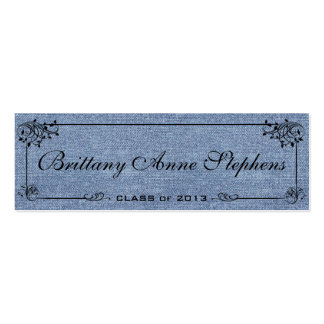 Faded Denim Graduation Name Card Insert