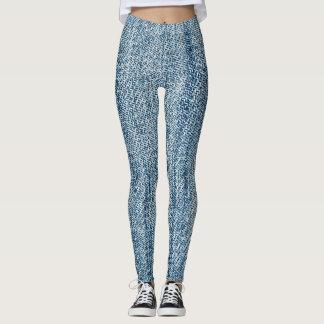 Faded Denim Jeans Leggings