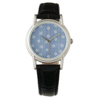 Faded denim with cute simple flowers watch