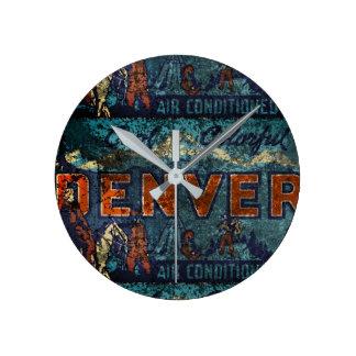 Faded Denver Round Clock