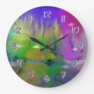 Faded Fireworks Turn Back the Time Backwards Large Clock