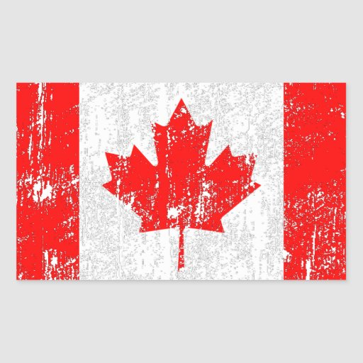 Faded Flag Of Canada Rectangular Stickers