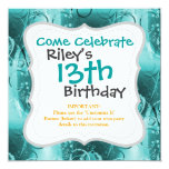 """Faded Floral Swirl Teal Turquoise Blue Gifts for H 5.25"""" Square Invitation Card"""