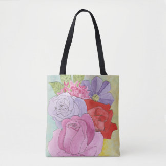 Faded Flowered Tote Bag