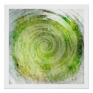 Faded Green Hypnotic Swirl Art Perfect Poster