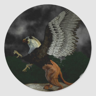 Faded Griffin Button Classic Round Sticker