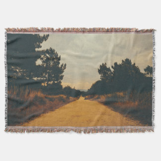 Faded Landscape Nature Country Road Throw Blanket