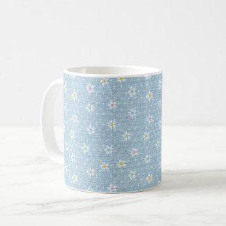 Faded light blue denim look with flowers coffee mug