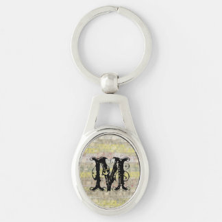 Faded Measuring Tape Background Silver-Colored Oval Keychain
