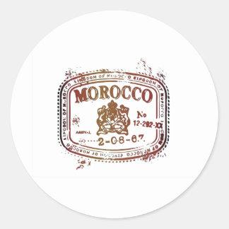 Faded Morocco Stamp Classic Round Sticker