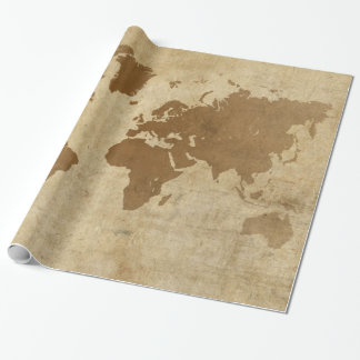 Faded Parchment World Map Wrapping Paper