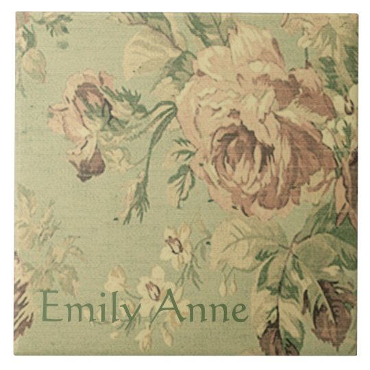 Faded Pink and Green Roses Personalized Tile