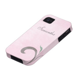 Faded Pink Flourish Case-Mate iPhone 4 Tough Case