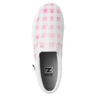 Faded pink gingham Slip-On sneakers