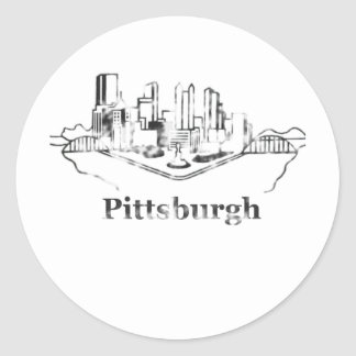 Faded Pittsburgh City Skyline Logo Classic Round Sticker